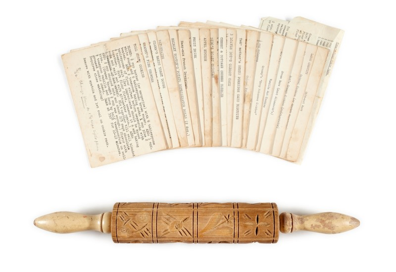 Sylvia Plath's collection of family recipes and a rolling pin. Image from Sotheby's.