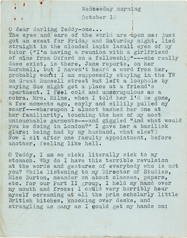 Sylvia Plath's typed letter to Ted Hughes, October 10, 1956. Image from Sotheby's.