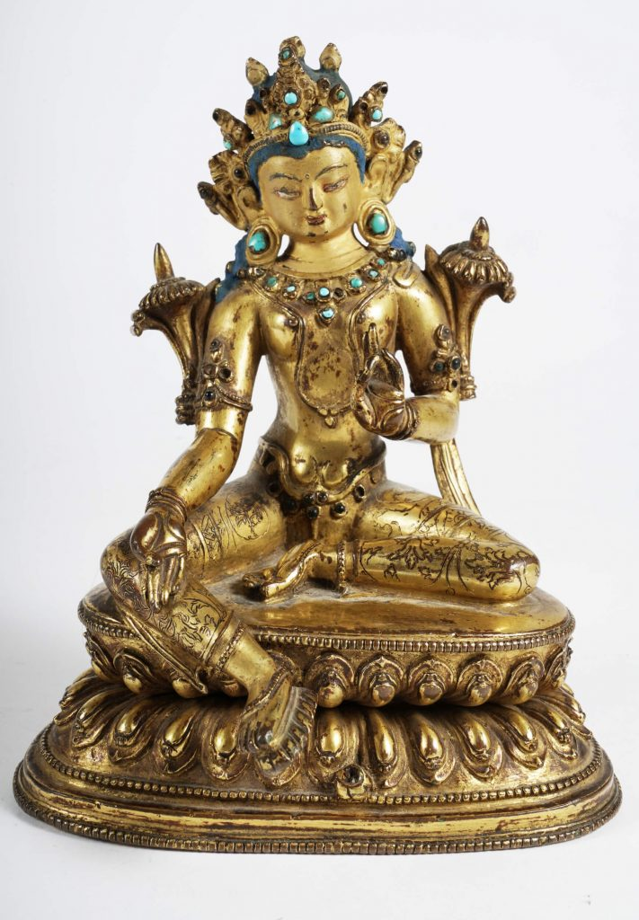 An 18th century Tibetan Gilt Bronze Seated Bodhisattva that sold for $40,000 ten times over its low estimate of $4,000
