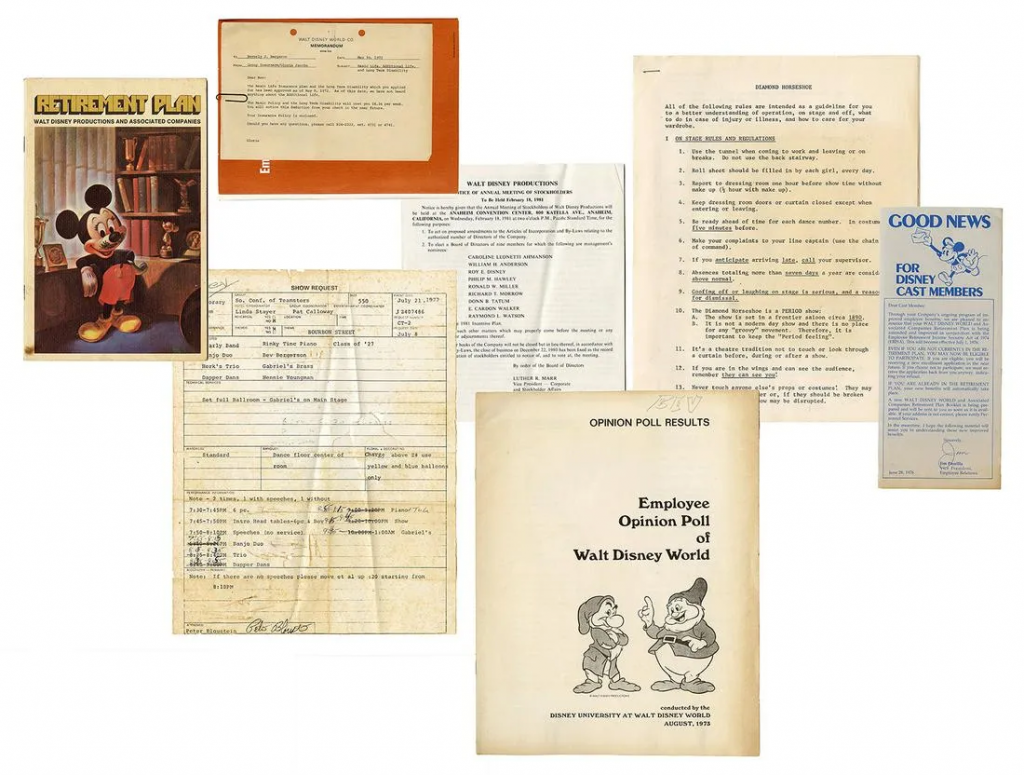 Walt Disney World employee documents given to Bev Bergeron. Image from Potter & Potter.