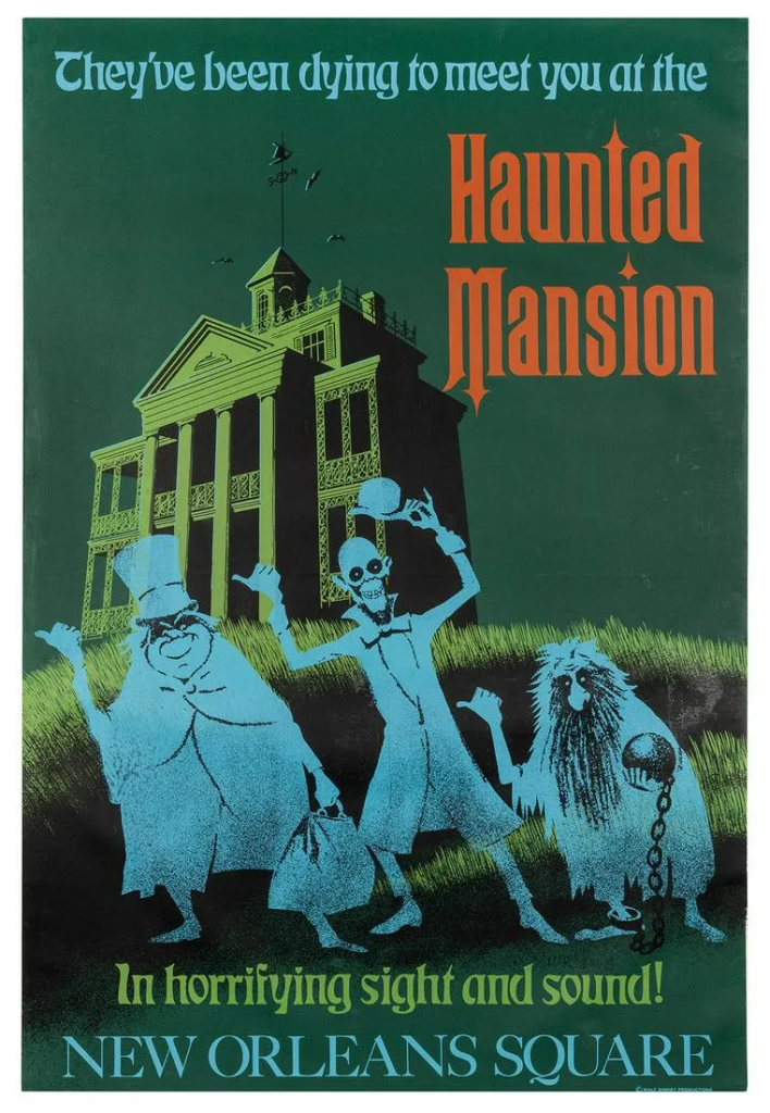 Disneyland attraction poster for The Haunted Mansion. Image from Potter & Potter.