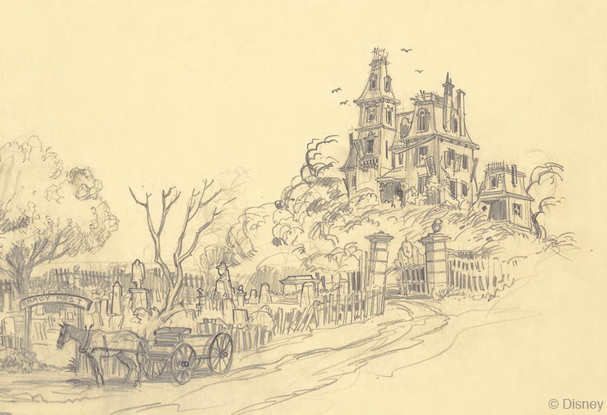 Harper Goff's original concept art for what would become The Haunted Mansion. Image from Disney Parks.