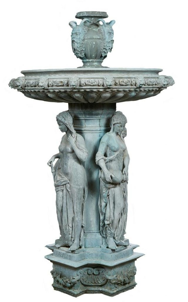 Large 20th century patinated bronze fountain figure of the Four Seasons, 87 inches tall by 53 inches wide. Estimate: $5,000-$10,000.