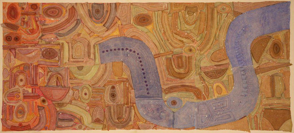 Manish Pushkale Metaphors of my terrain Medium: Acrylic on canvas 1 cm x 201 cm 2020