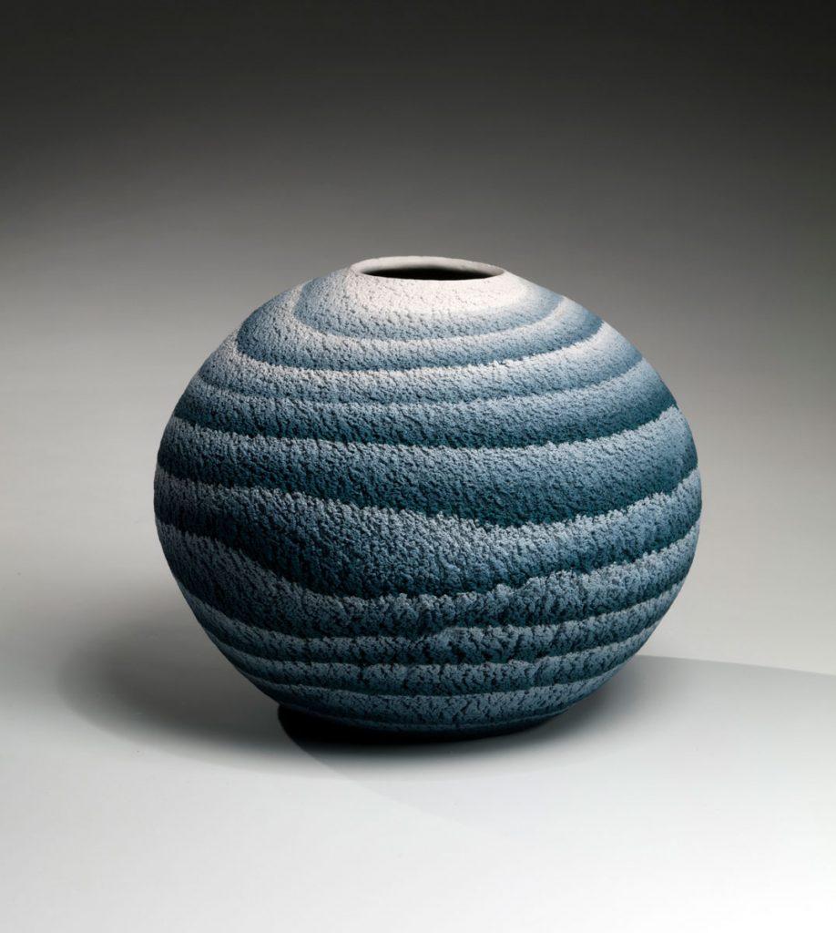 Matsui Kōsei (1927-2003) Brush-rubbed, neriage (marbleized) globular vessel ca. 1982 Marbleized stoneware 8 1/2 x 10 1/8 in.