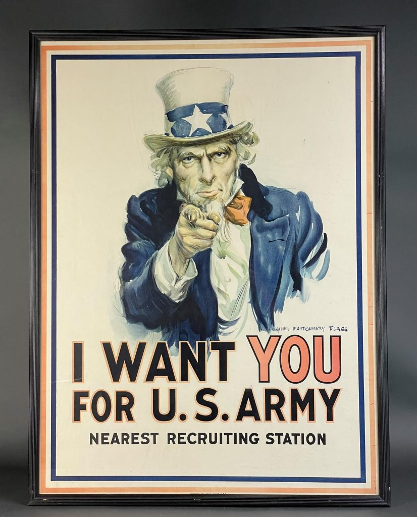 James Montgomery Flagg (American, 1870-1960), 'I WANT YOU FOR U.S. ARMY' poster, 1917, published by Leslie Judge Co., N.Y. Framed: 42 x 31½ in. Estimate $4,000-$6,000