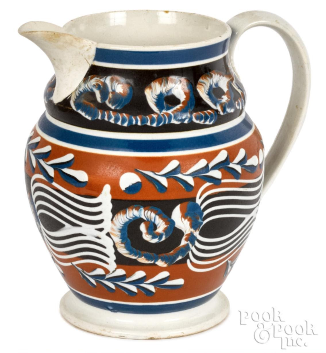 Mocha pitcher sold for $13,530. Image from Pook & Pook, Inc.