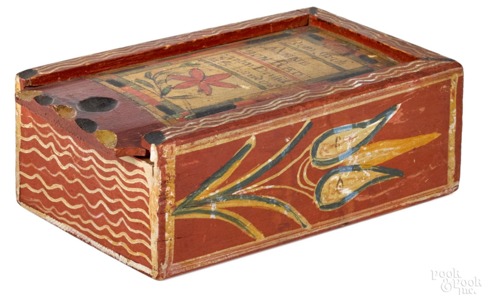 Pine slide lid box by John Drissel sold for $137,000. Image from Pook & Pook, Inc.
