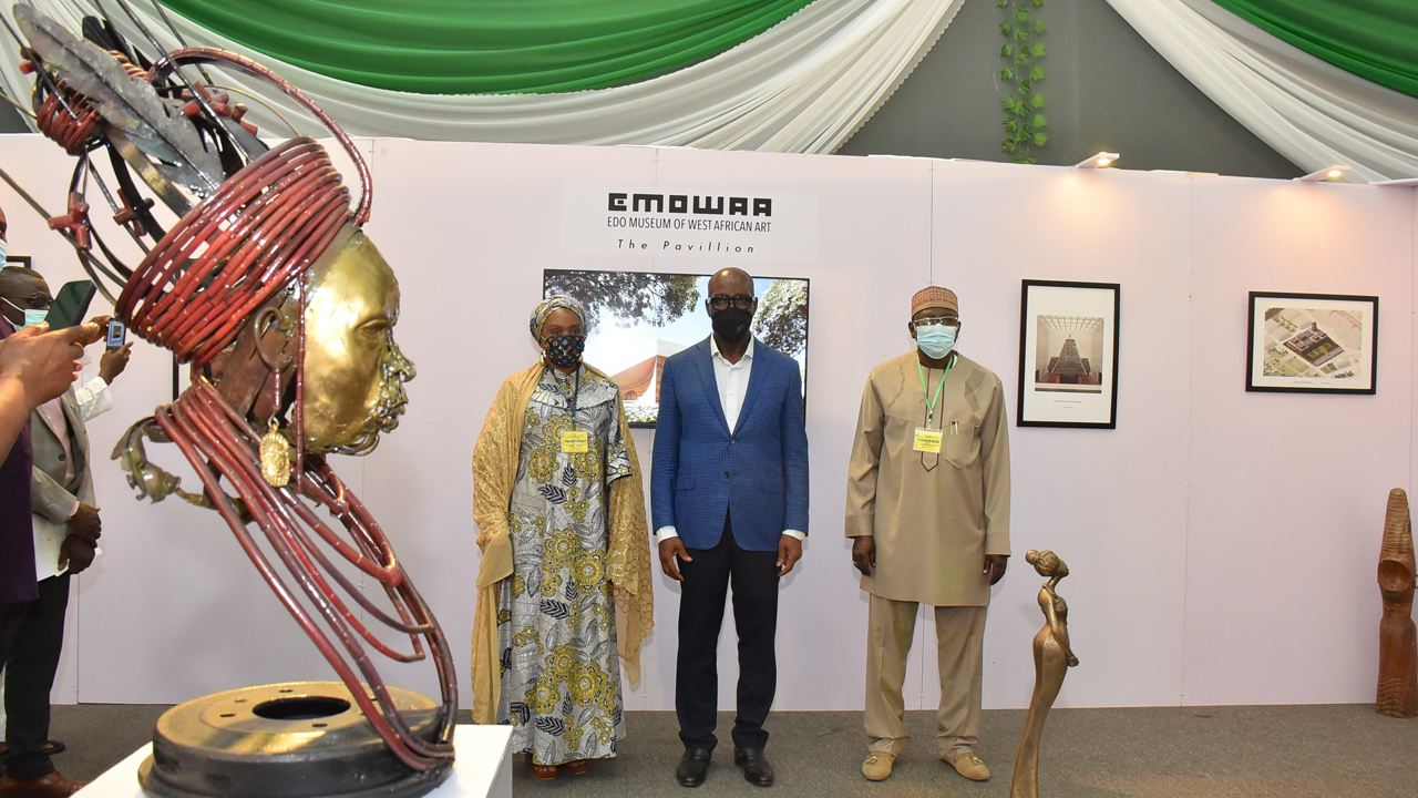 Chairman, National Commission for Museum and Monument (NCMM) Governing Board, Arc. Umma Dambo Mamman-DA; Edo State Governor, Mr. Godwin Obaseki; and the Director General, NCMM, Prof. Abba Isa Tijani at Government House, Benin City. Image courtesy of The Guardian Nigeria.