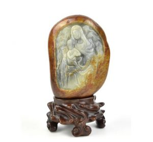 Chinese Carved Jade of Guanyin w Stand