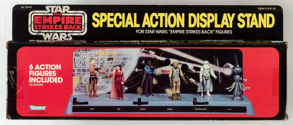 Star Wars: The Empire Strikes Back display stand with six encapsulated action figures, 1980, AFA graded, complete and unused condition. Sold for $36,302 against an estimate of $10,000-$20,000