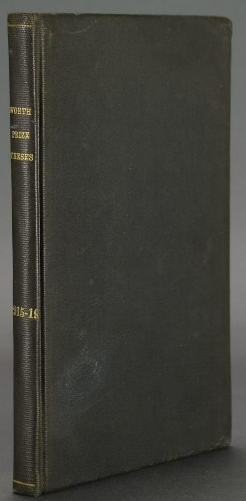 Thomas Wolfe, 'Worth Prize Theses,' 1915, 1917-1919. Contains four theses. Original wraps bound in. First edition of Wolfe's first book, one of 200 copies printed. Estimate $3,000-$5,000