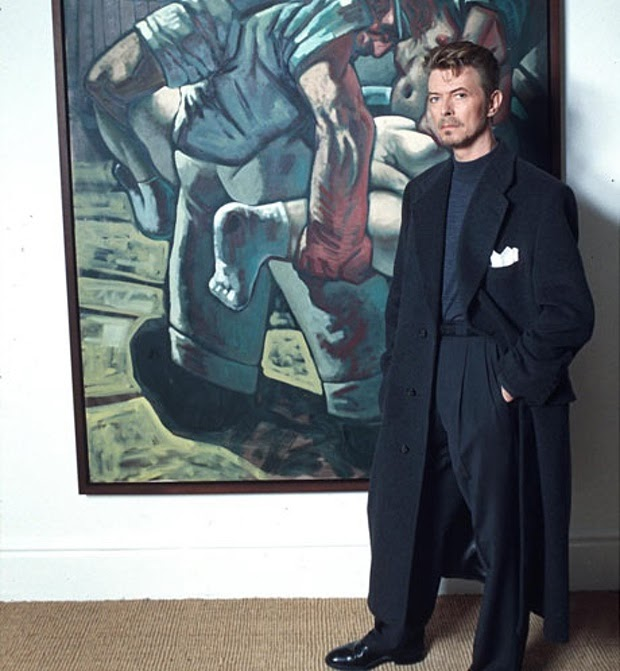 David Bowie with Peter Howson's Croatian and Muslim, 1994. Image from Richard Young/ Rex Features.