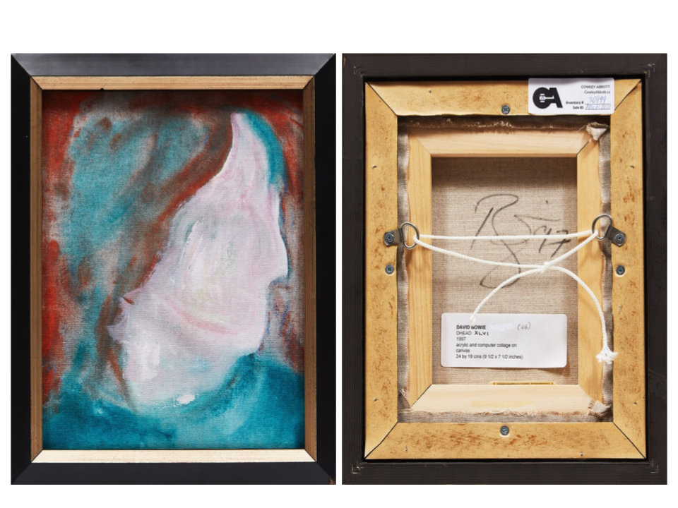 Front and back of David Bowie's D-Head XLVI, 1997. Images from Cowley Abbott.