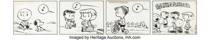 Charles Schulz Peanuts comic strip. Image from Heritage Auctions.