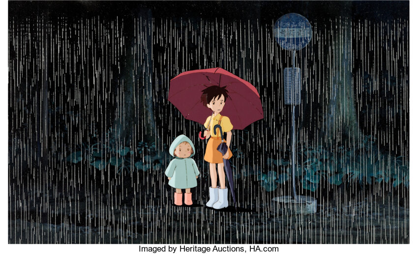 My Neighbor Totoro, Mei and Satsuki production cel setup. Image from Heritage Auctions.