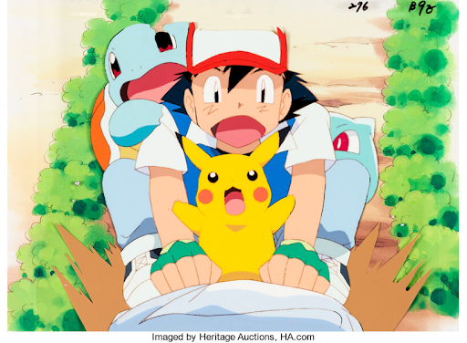 Pokémon: The First Movie, animation drawing. Image from Heritage Auctions.