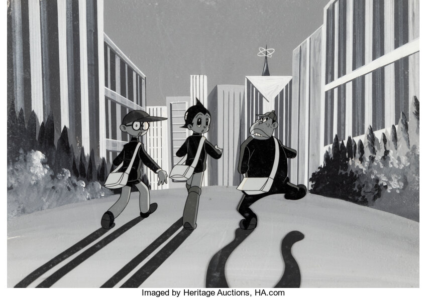 Astro Boy, Astro Boy and Dinny production cel setup. Image from Heritage Auctions.