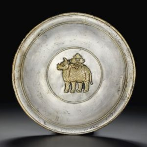 AN EXCEPTIONALLY RARE AND IMPORTANT PARCEL-GILT SILVER 'RHINOCEROS' DISH