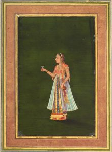A PORTRAIT OF A LADY HOLDING A WINE FLASK