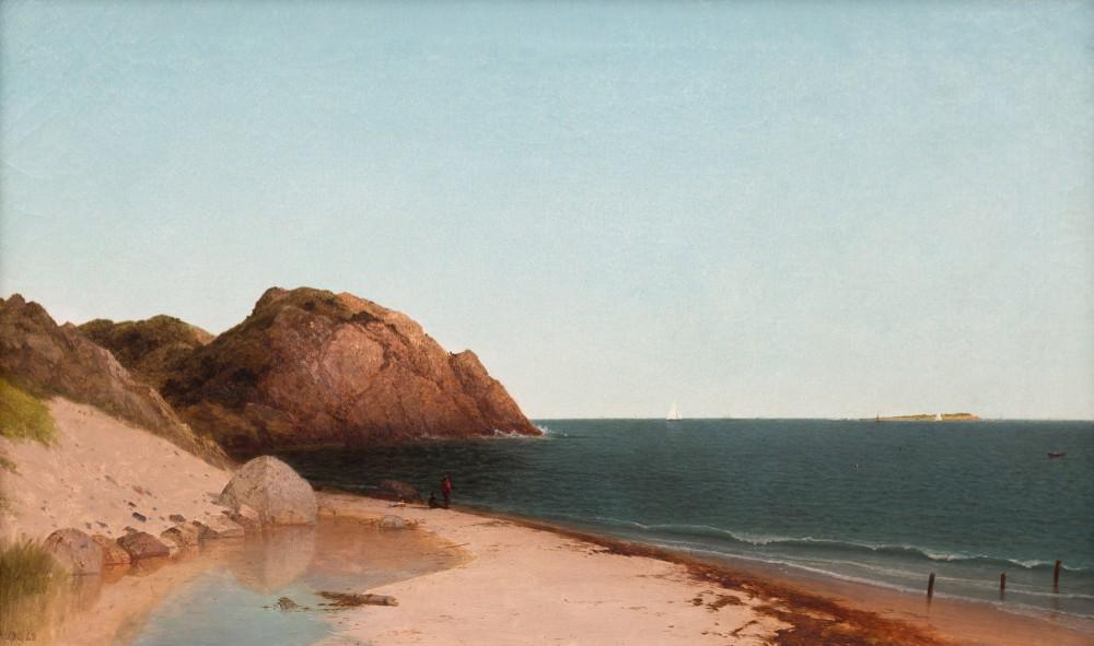 Fresh to the market oil on canvas painting by John F. Kensett (American, 1816-1872) titled Singing Beach & Eagle Rock, Magnolia, Massachusetts (est. $200,000-$400,000).