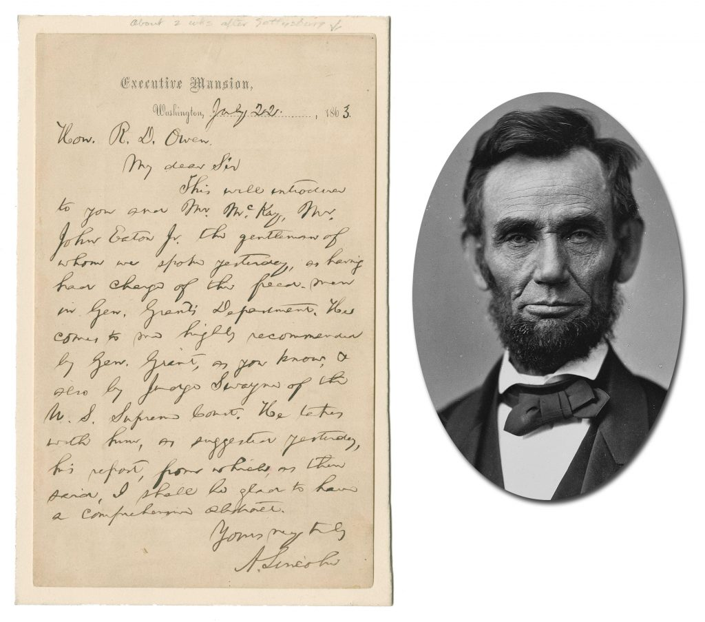 One-page autograph letter signed by Abraham Lincoln and dated just weeks after the Battle of Gettysburg, on July 22, 1863, with slavery-related content (est. $50,000-$60,000).