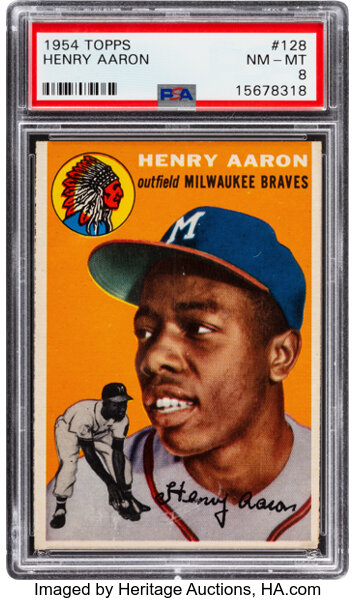 Hank Aaron rookie card. Image from Heritage Auctions.