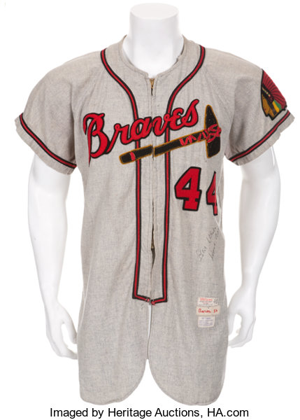 Milwaukee Braves jersey worn by Hank Aaron during his rookie season. Image from Heritage Auctions.