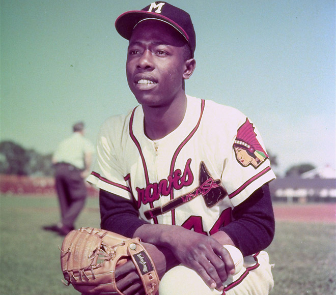 Hank Aaron with the Milwaukee Braves in 1957. Image from the Associated Press.