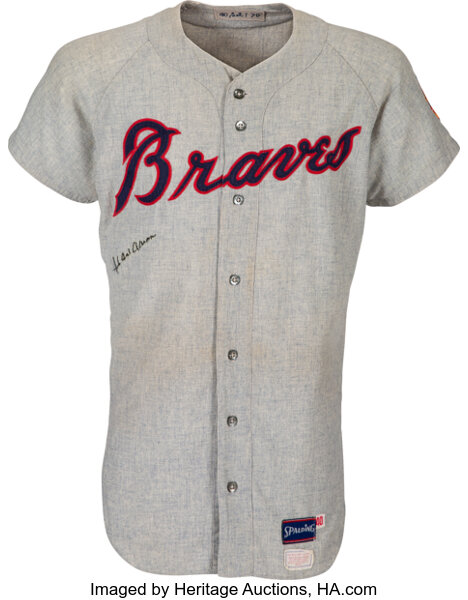 Hank Aaron 3,000th hit game-worn jersey. Image from Heritage Auctions.