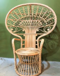 Ornate Rattan Wicker Peacock Chair