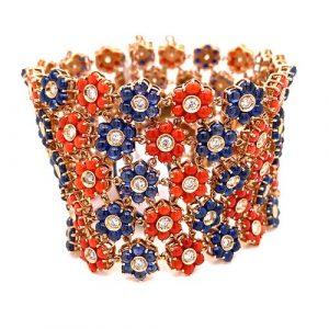 14K Sapphire Carnelian Diamond Bracelet