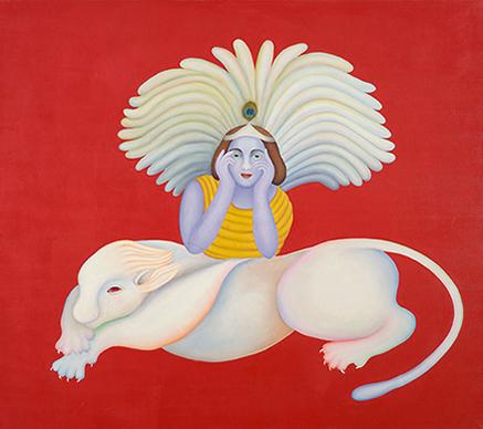 Untitled piece by Manjit Bawa. Image from Saffronart.