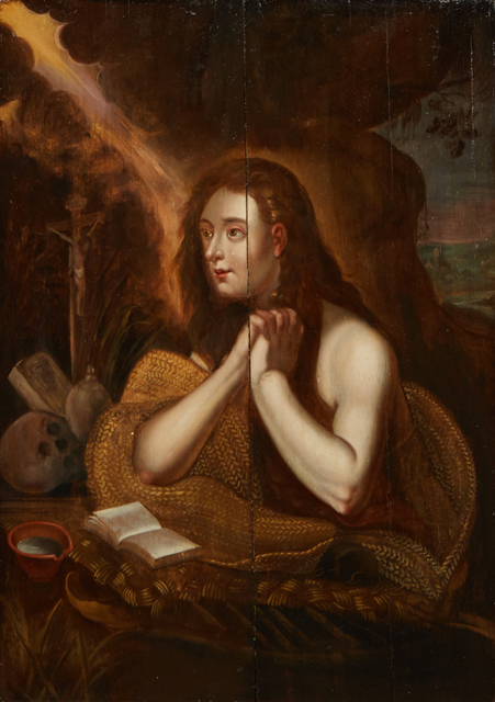 19th century oil on board painting after Domenico Tintoretto (1560-1635), titled The Penitent Magdalene, measuring 24 ½ inches in height by 18 ½ inches in width (estimate: $1,000-$2,000).