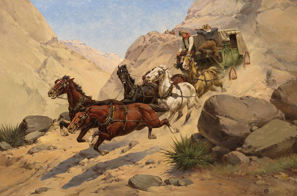 Herman W. Hansen, Attack on the Stagecoach, Sold at Auction: $157,300, a World Record for Herman W. Hansen