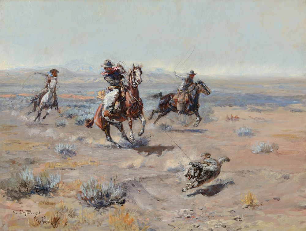 Charles M. Russell, Roping a Wolf (1904), Sold for $1,770,000 in Coeur d'Alene Art Auction's Fine Western & American Art Auction
