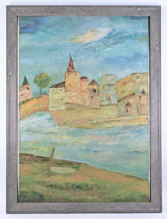 Abstract architectural oil painting by Ram Kumar (India, 1924-2018), depicting brown buildings against a vibrant blue sky from the opposite side of a river, signed (estimate: $25,000-$35,000).