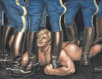 Tom of Finland, Home – Secured, colored pencil on paper, 1982. Sold for $87,500, a record for the artist.