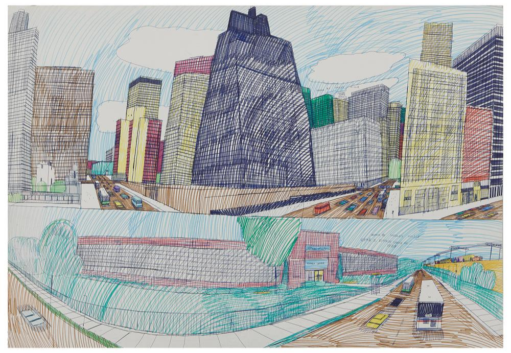 Wesley Willis, Jackson, Adams, Franklin, 1989; 109th and S. Cottage Grove Av., 1989. Image from Toomey & Co.