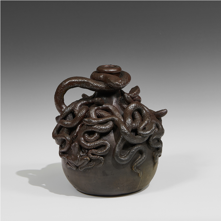 Anna Pottery/Wallace & Cornwall Kirkpatrick, Centennial snake jug, 1876. Image from Toomey & Co.