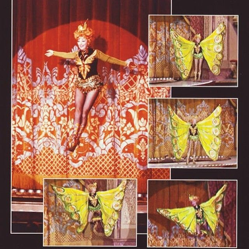 Lucille Ball in Bob Mackie-designed butterfly outfit during The Wonderful World of Burlesque (1965). Image from Pat Watts Stevens via Pinterest.