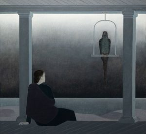 Will Barnet - Woman Seated on Porch Watching An Approaching Storm-Mecaw (sic) Above on Perch