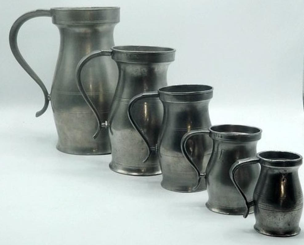 Lot #1: Set of 5 American marked 18th-century measures. Photo from Bidsquare.