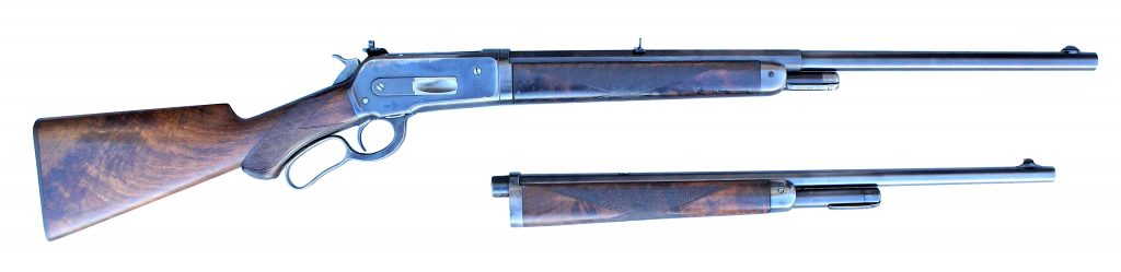 Legendary firearms expert and author Elmer Keith's (1899-1984) personal special-order .45-.90-caliber Winchester Deluxe 1886 rifle, manufactured 1903. Checkered pistol-grip stocks of highly flame-figured American walnut, blade front sight, Express rear sights, sliding Lyman receiver sign, many additional custom features. Estimate $8,500-$12,500