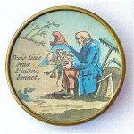A VERY RARE 18TH CENTURY UNDER GLASS BUTTON