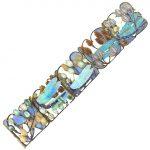 René Lalique Gold, Carved Opal, Enamel and Aquamarine Dragonfly Bracelet