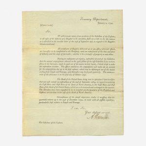 [Hamilton, Alexander] [Treasury Department] Printed Treasury Department Circular, signed