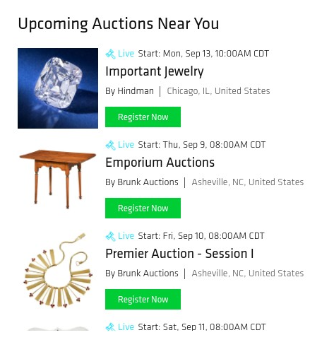 Screencapture of Bidsquare's Auctions Near Me feature.