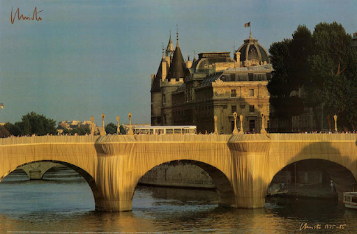 Christo & Jeanne-Claude, The Pont Neuf Wrapped, 1985. Image from Bonhams.