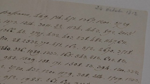 Napoleon's coded letter stating he will blow up the Kremlin. Image from BBC News.